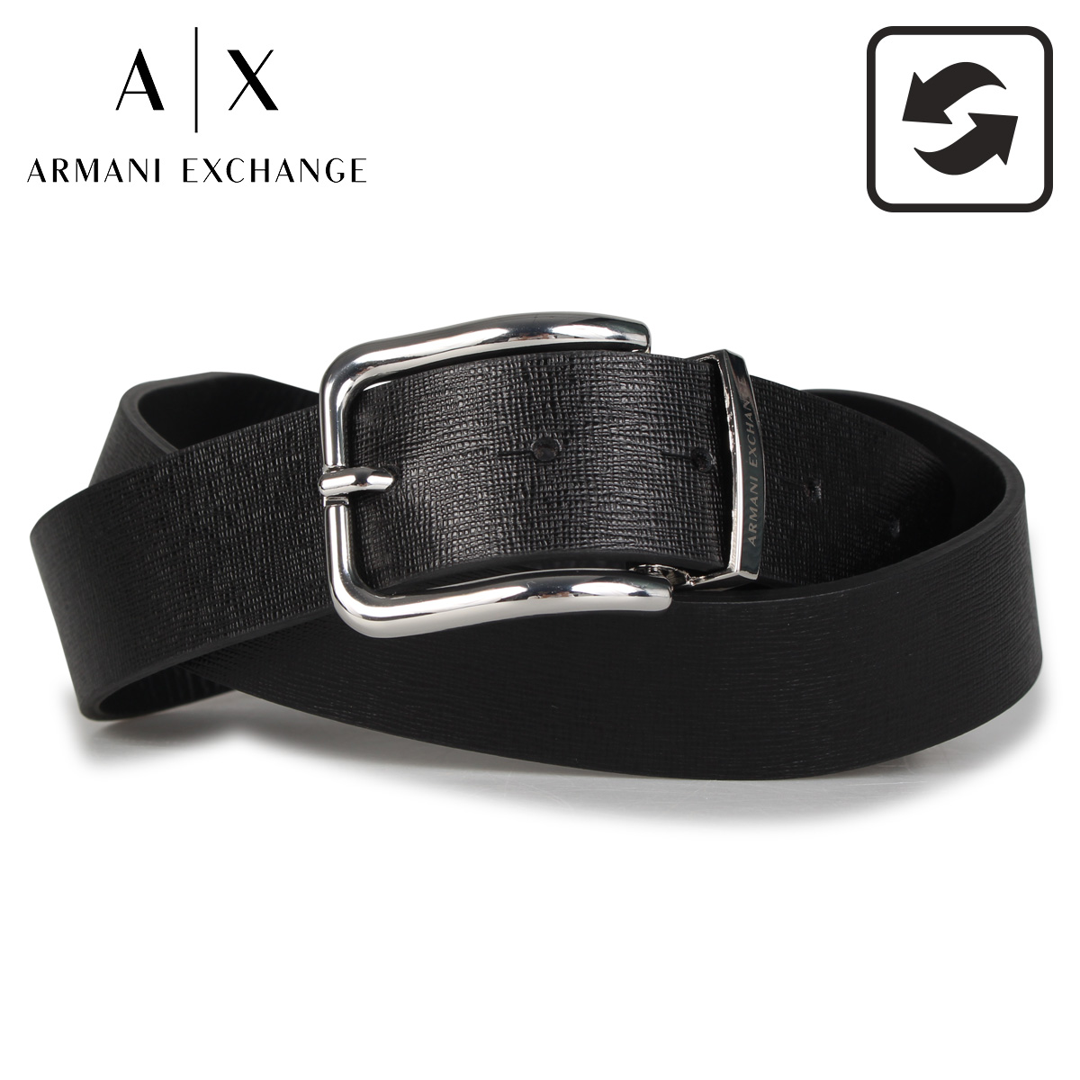 アルマーニエクスチェンジ ARMANI EXCHANGE ベルト レザーベルト メンズ リバーシブル LEATHER BELT ブラック 黒 951250CC797 [9/15 新入荷]