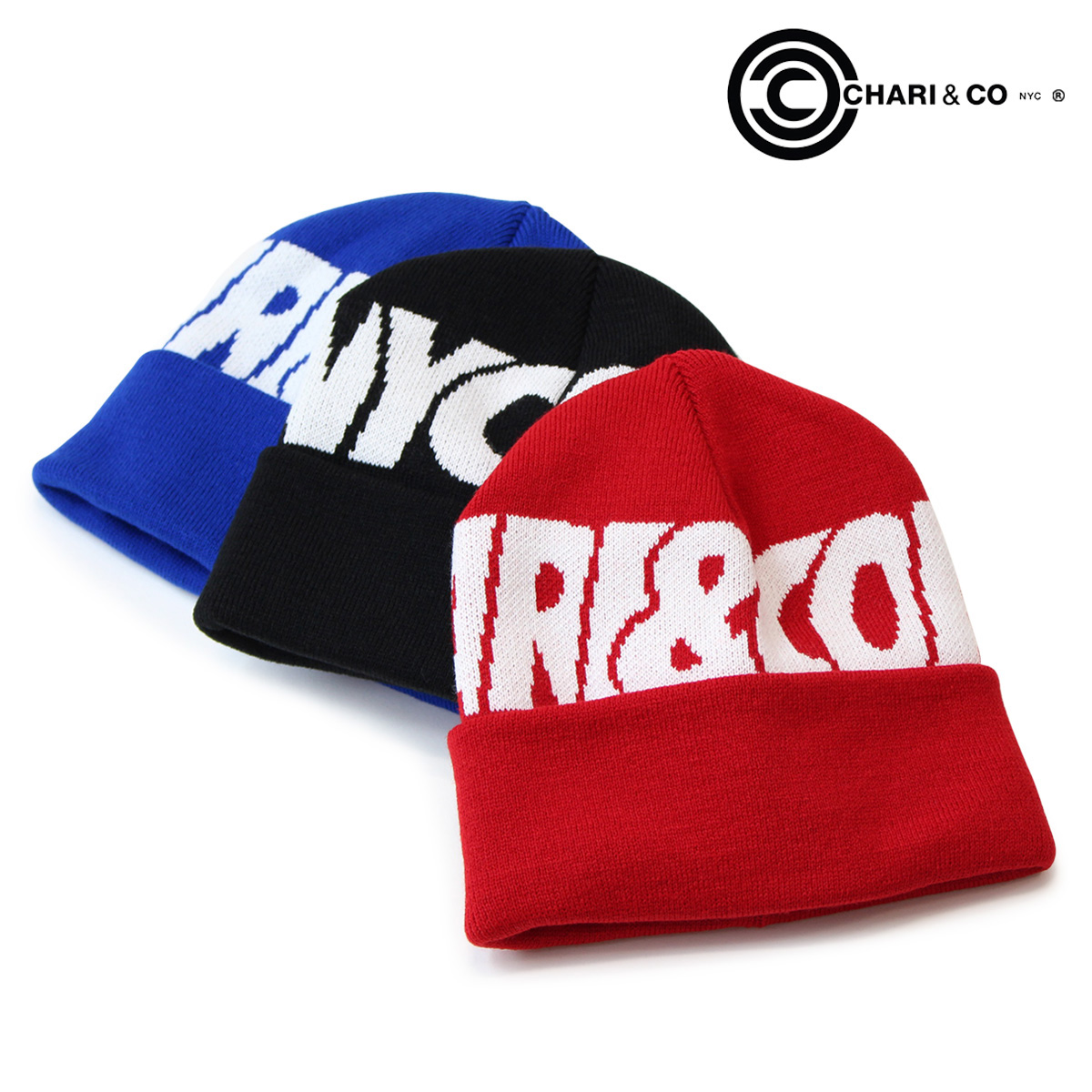 c8e0e468f74 CHARI CO NYC chariandcoa mens ladies knit hat knit Cap Beanie 3 color WATCH  CAP OVERLAP LOGO  9 17 new in stock