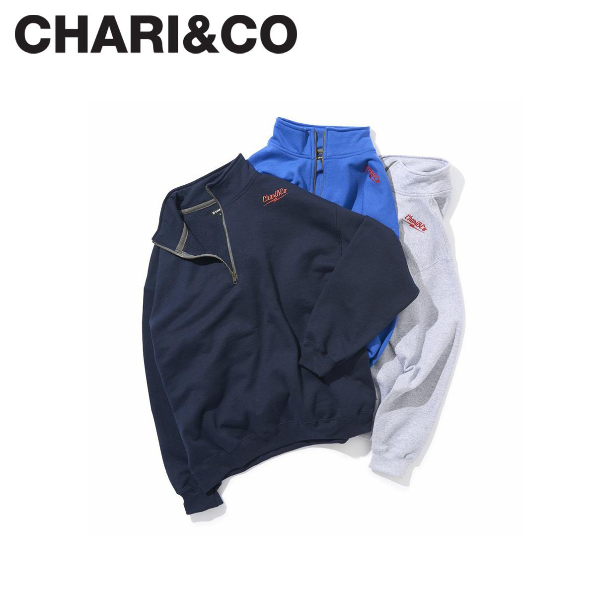 CHARI&CO チャリアンドコー スウェット メンズ レディース THUNDER LOGO HI NECK SWEATS グレー ネイビー ブルー