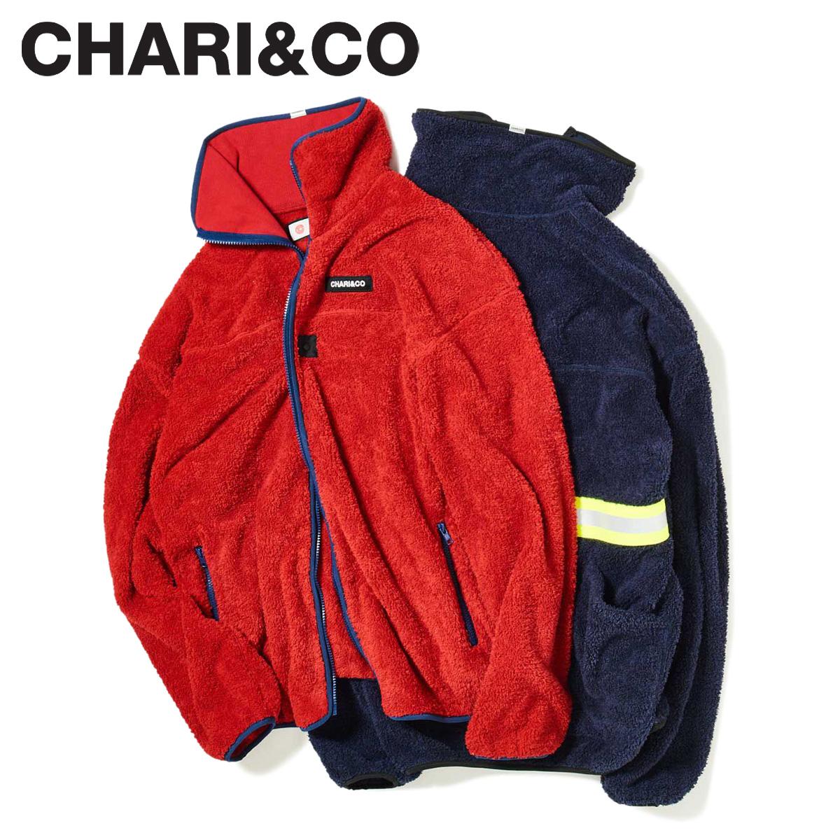 【最大2000円OFFクーポン】 CHARI&CO チャリアンドコー ジャケット フリースジャケット メンズ SAFETYGUARD FLEECE JKT ネイビー レッド