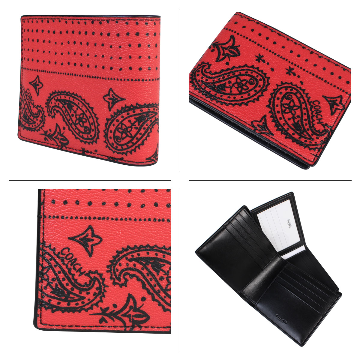 Coach COACH wallet folio men leather F57653 red black bandana