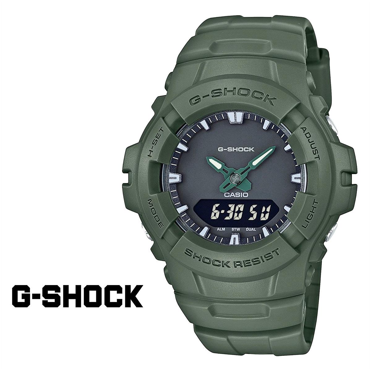 【最大2000円OFFクーポン】 カシオ CASIO G-SHOCK 腕時計 グリーン G-100CU-3AJF ジーショック Gショック G-ショック メンズ レディース 時計 カーキ