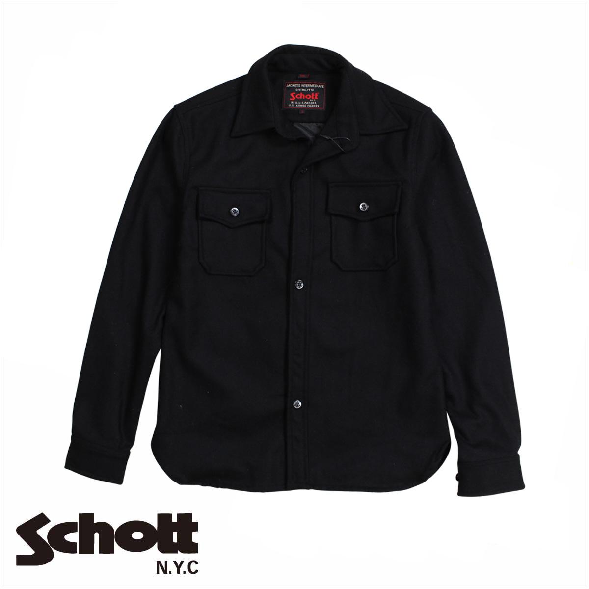 【最大2000円OFFクーポン】 【訳あり】 ショット Schott ジャケット シャツジャケット メンズ EMBELLISHED CPO WOOL SHIRT ブラック 7710