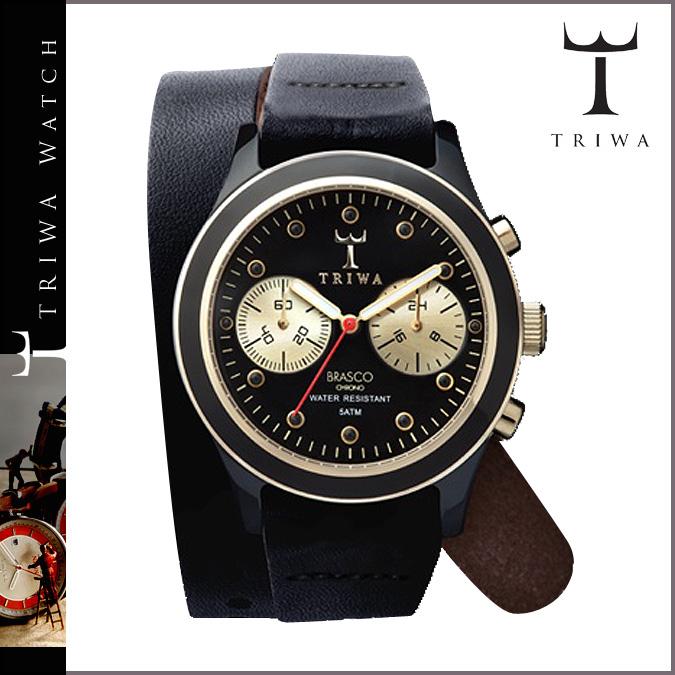 Tri TRIWA×Tarnsjo watch DCAC 108 EBONY TWIST GOLD BRASCO CHRONO leather mens Womens 2013 new