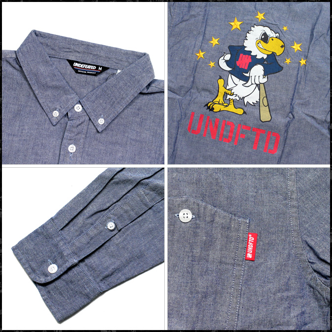 Undefeated UNDEFEATED long sleeve button shirt with [Indigo] 5011021 EAGLE CHAMBRAY L S SHIRT chambray cotton men's [regular]