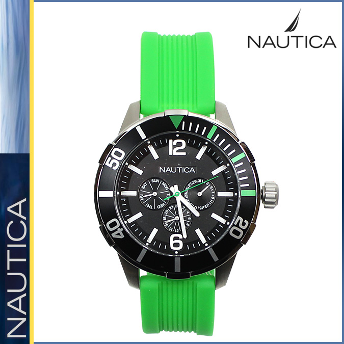 sneak online shop rakuten global market 11 nautica nautica 11 nautica nautica watch men 48mm chronograph watch clock 2014 arrival n14625g silver x green nsr