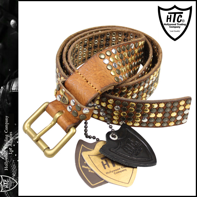 Acitiacy HTC Hollywood Trading Company studded belts men's leather 2014, new 14WHTCI001 Brown 5000 STUDS CLASSIC BELT [10 / 20 new in stock] [regular]