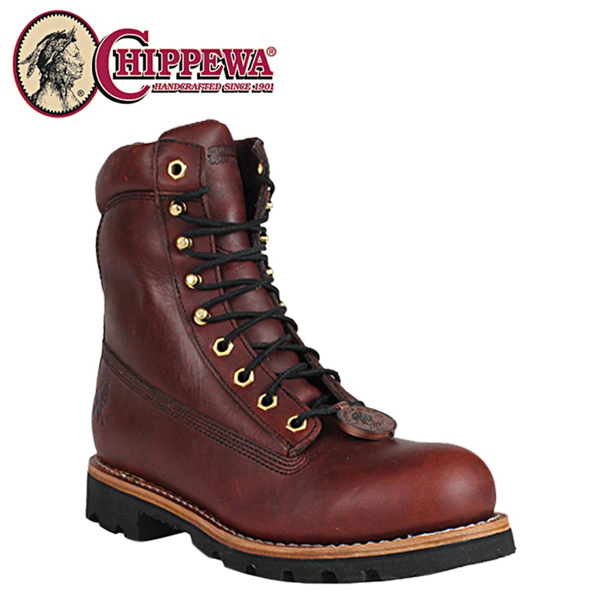 奇珀瓦奇珀瓦花边靴 [红木] 72007 8 红色木钢脚趾 M 明智皮革男装