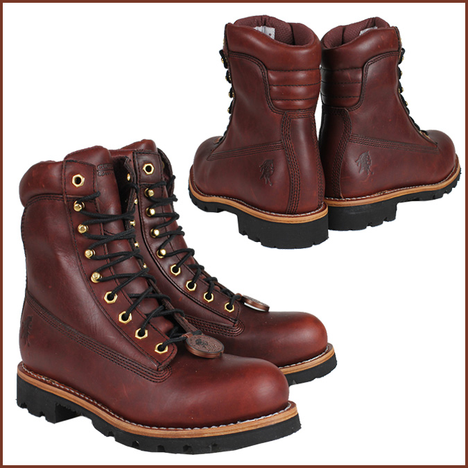 Chippewa CHIPPEWA boots lace-72007 8 RED WOOD STEEL TOE M wise leather men's