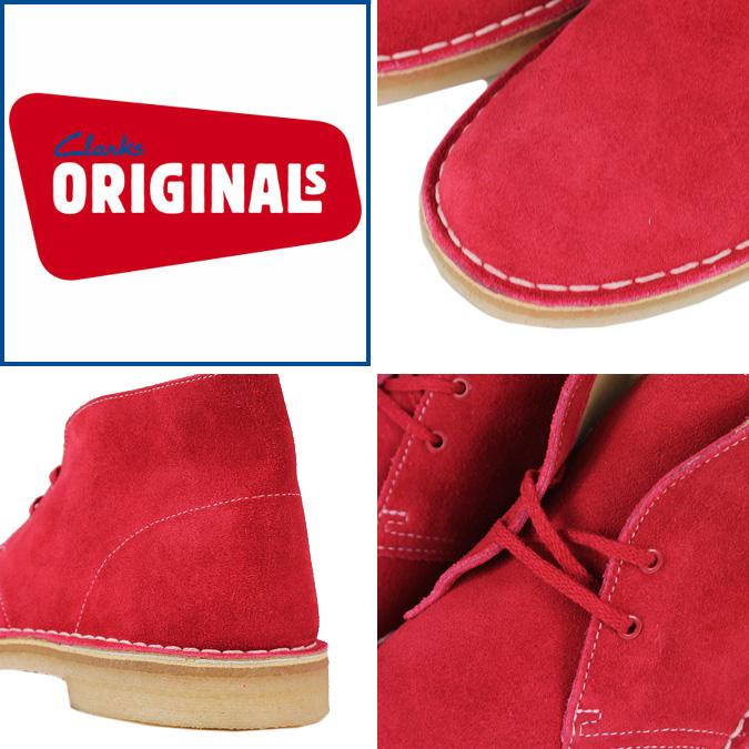 克拉克斯原件 Clarks 原件沙漠靴 61794 麂皮绒沙漠引导男装红色麂皮绒