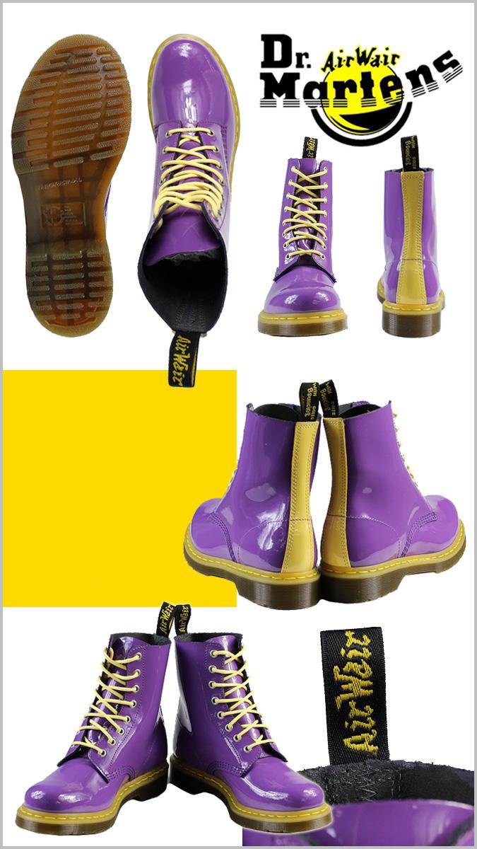 博士马滕斯 Dr.Martens 8 孔靴 [明亮的紫色 x 酸性黄,R13512501 核心专利男装女装搪瓷 uni 性别 [定期]