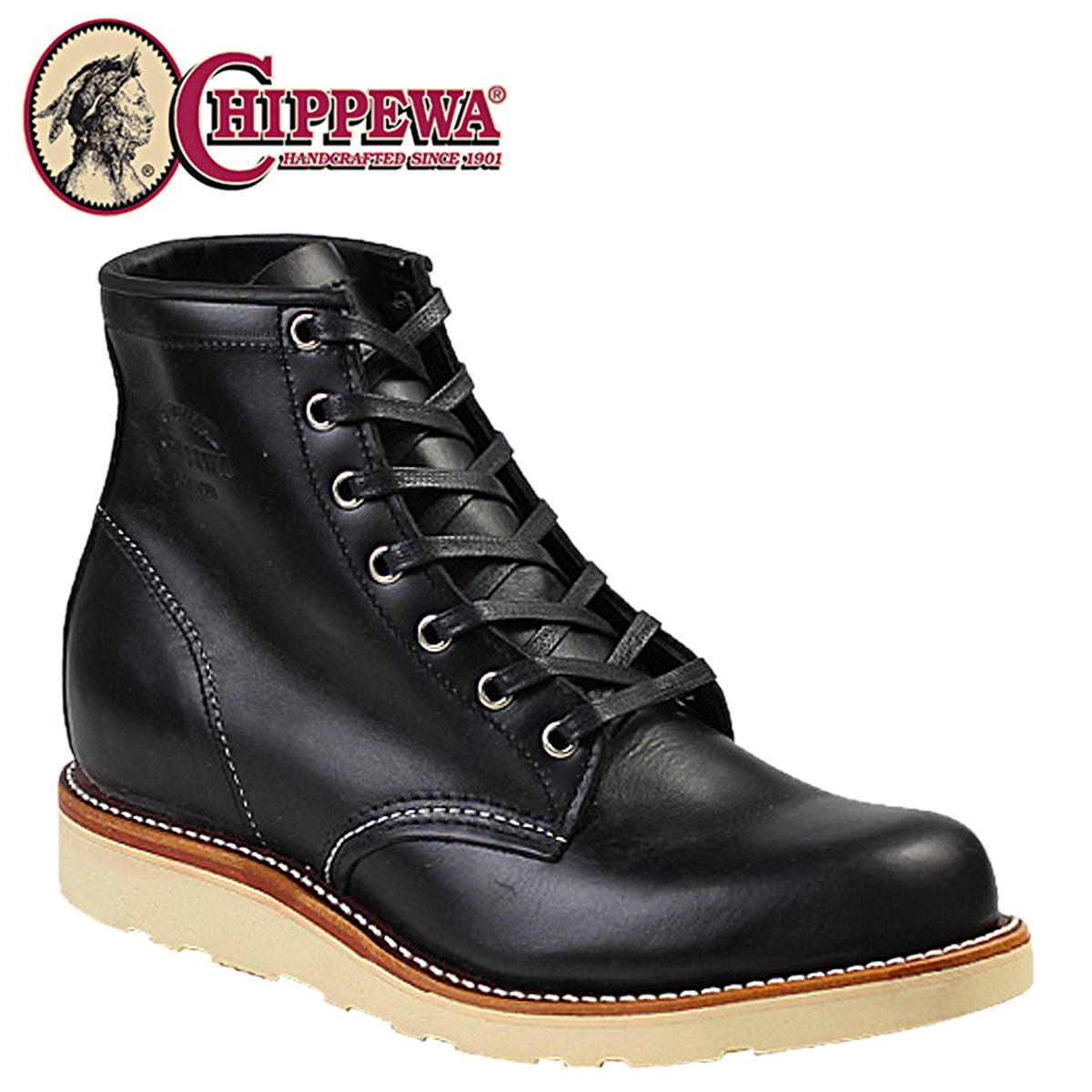 チペワ CHIPPEWA ブーツ 6インチ プレーン トゥ ウェッジ 6INCH PLAIN TOE WEDGE 1901M15 Dワイズ ブラック メンズ [3/30 再入荷]