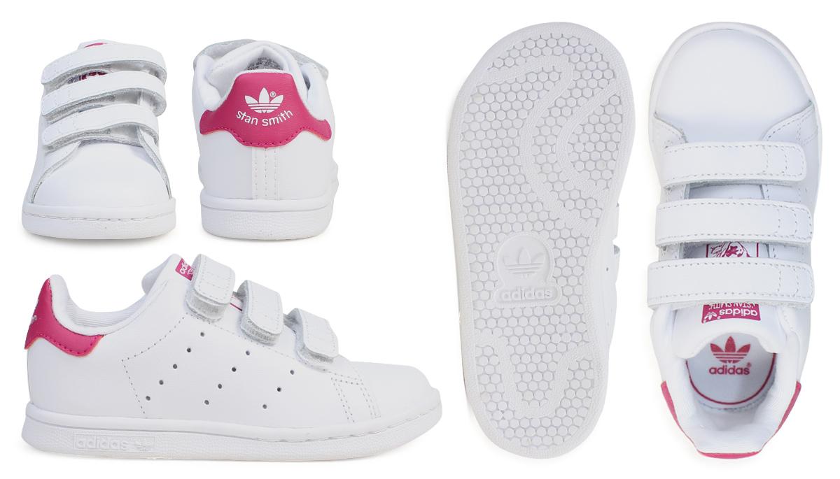 a8453c445cd Adidas Stan Smith Velcro kids baby adidas originals sneakers STAN SMITH CF  I BZ0523 shoes white pink  7 14 Shinnyu load