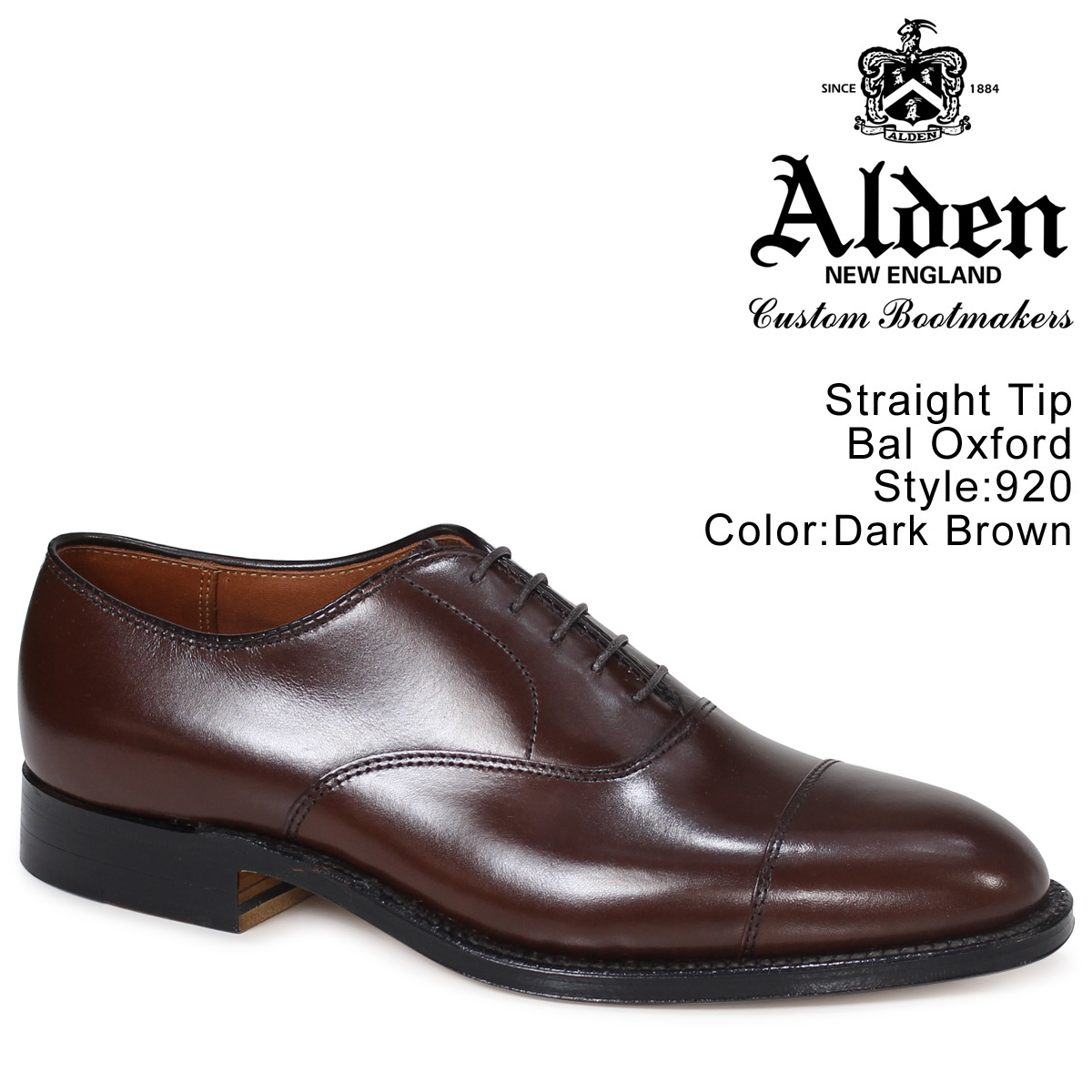 ALDEN オールデン オックスフォード シューズ メンズ STRAIGHT TIP BAL OXFORD Dワイズ 920