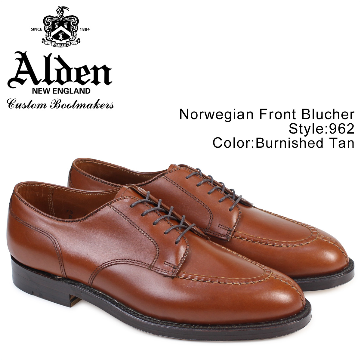 ALDEN オールデン ローファー シューズ メンズ NORWEGIAN FRONT BLUCHER Dワイズ 962