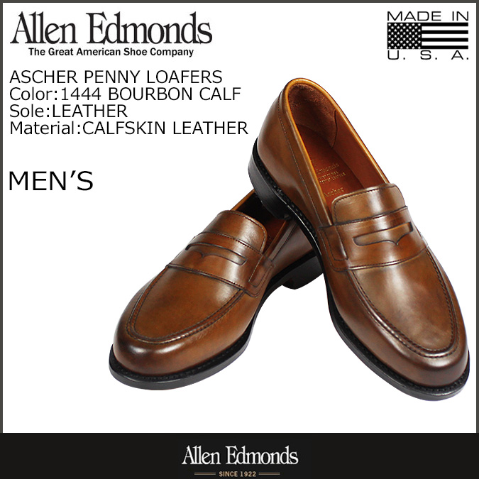 Allen Edmonds Allen Edmonds usher penny loafers ASCHER PENNY LOAFERS D wise leather mens shoes slip-on MADE IN USA 1444 Bourbon [10 / 3 new in stock] [regular]