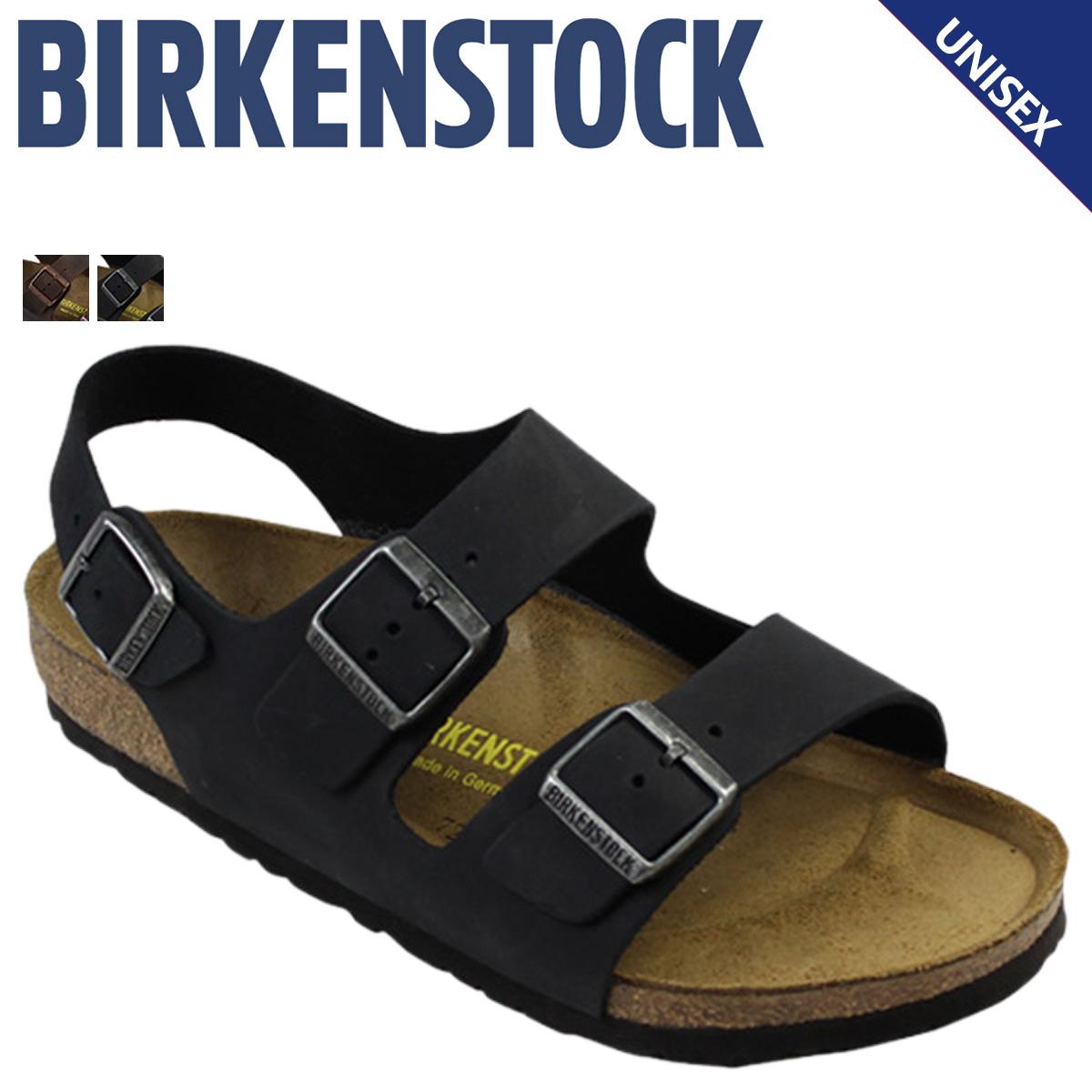 ビルケンシュトック BIRKENSTOCK ミラノ サンダル メンズ MILANO ビルケン レザー 普通幅 細幅 ブラック ブラウン 黒