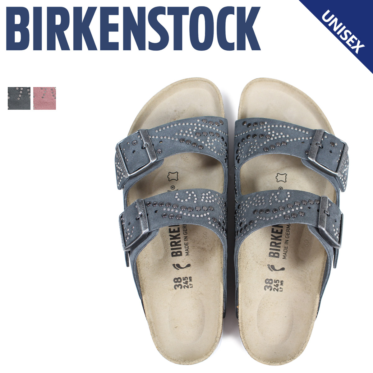 ビルケンシュトック BIRKENSTOCK アリゾナ サンダル メンズ レディース ARIZONA ビルケン 普通幅 細幅 グレー ピンク