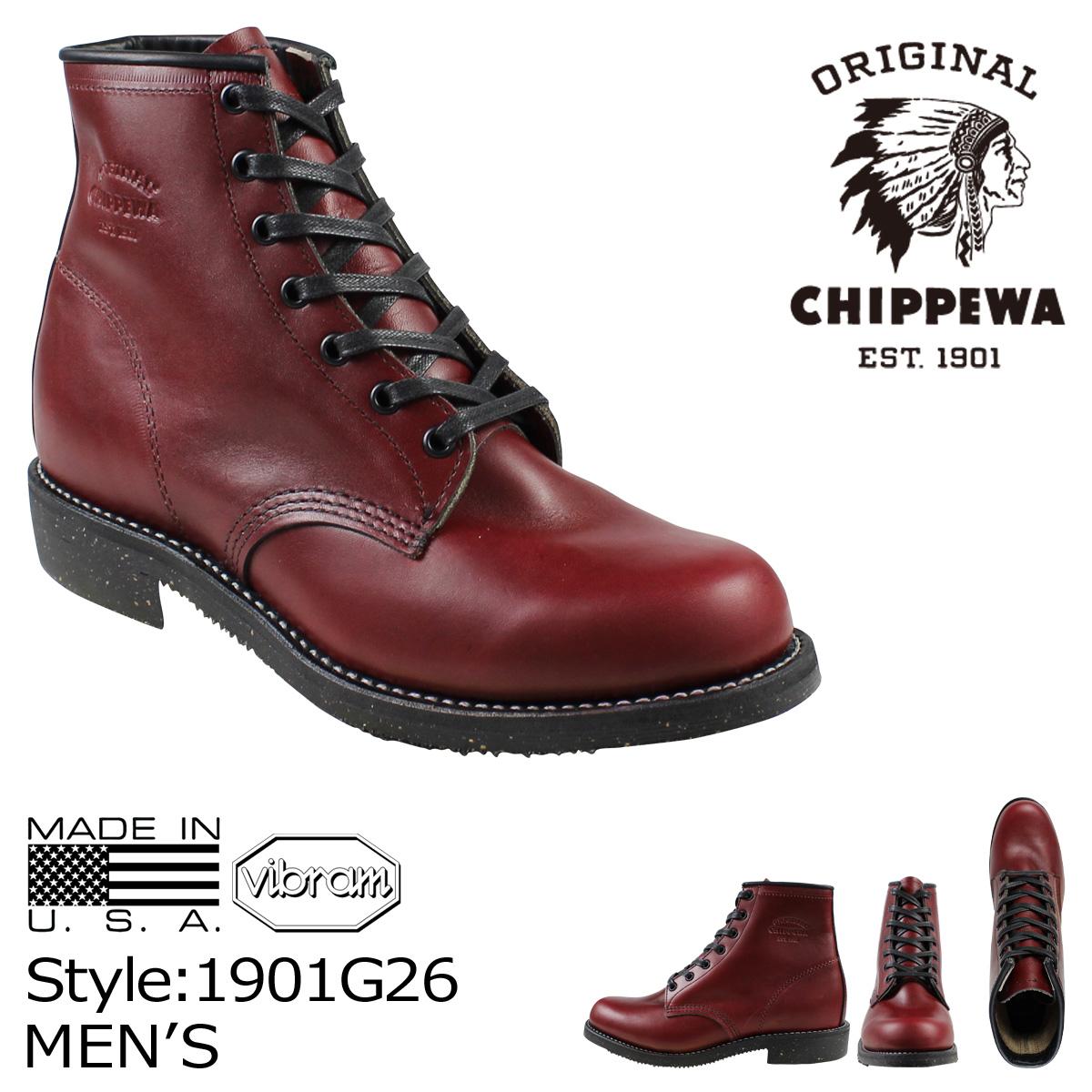 チペワ CHIPPEWA ブーツ 6インチ サービス 6INCH SERVICE BOOT 1901G26 Dワイズ バーガンディー メンズ [3/30 再入荷]