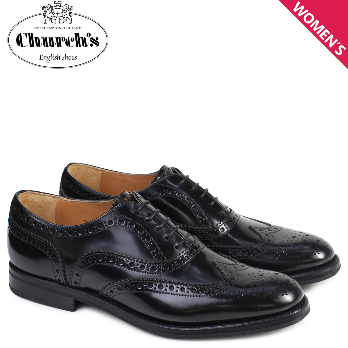 チャーチ Churchs 靴 レディース Churchs バーウッド シューズ ウイングチップ Burwood WG Polish Binder Calf 8705 DE0001 ブラック