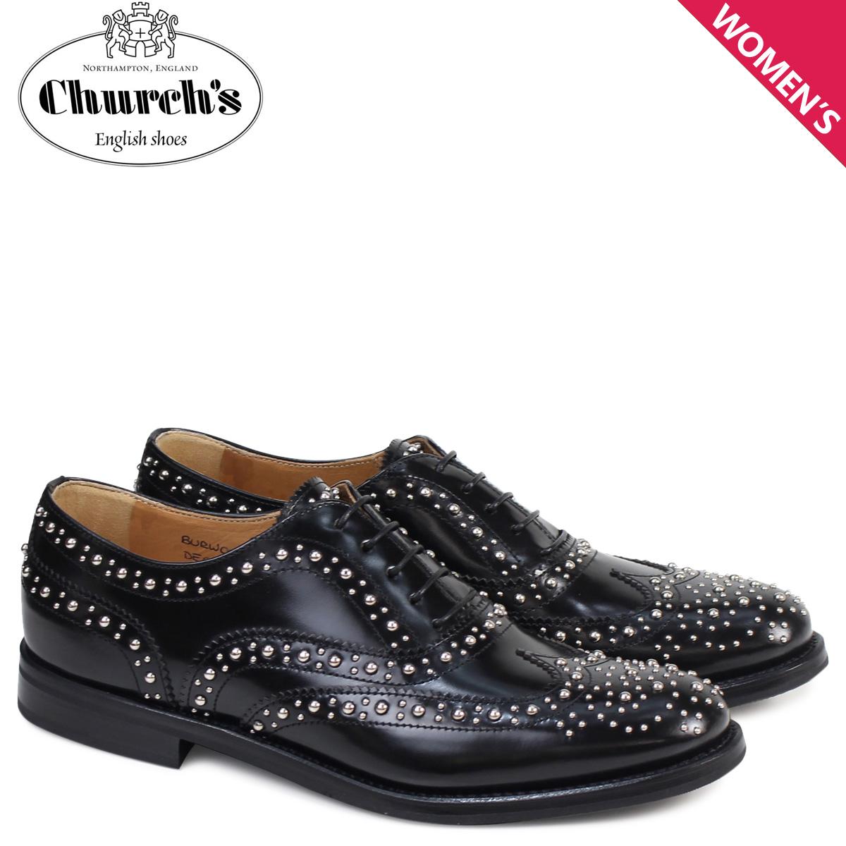 チャーチ Church's 靴 レディース バーウッド シューズ ウイングチップ メット Burwood Met Polish Binder Calf 8746 DE0002 スタッズ ブラック
