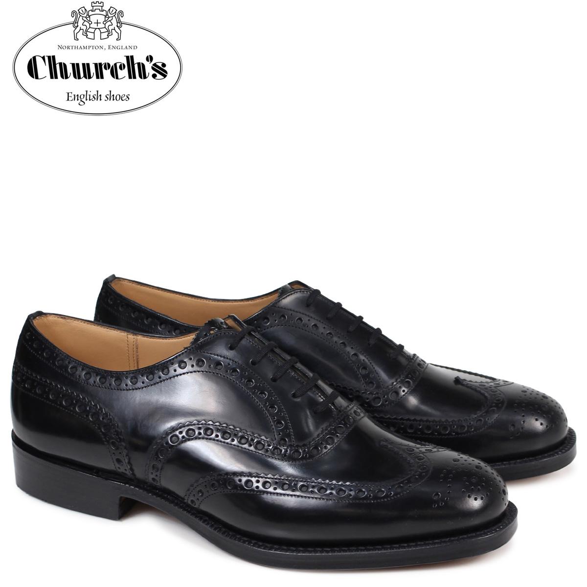 チャーチ Churchs 靴 バーウッド ウイングチップ シューズ メンズ BURWOOD レザー ブラック EEB002