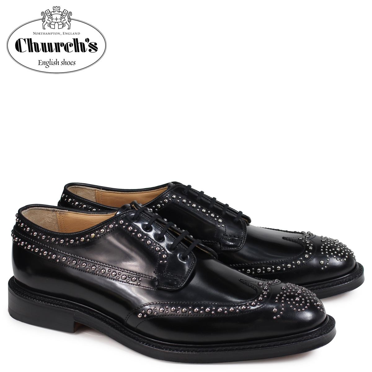 チャーチ Churchs 靴 グラフトン メット ウイングチップ シューズ メンズ GRAFTON MET POLISHED BINDER EEB228 スタッズ ブラック
