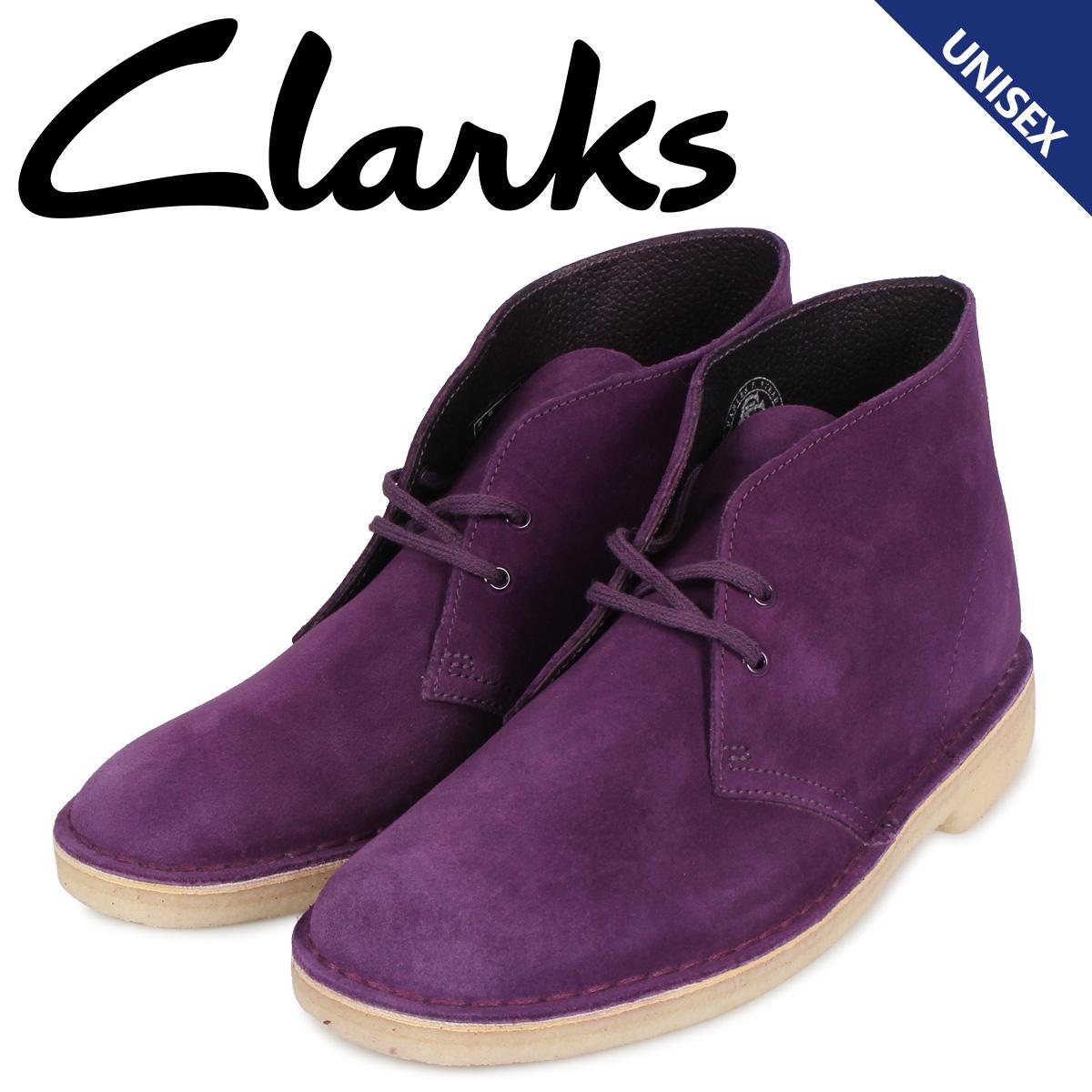 【最大2000円OFFクーポン】 クラークス Clarks デザートブーツ メンズ レディース DESERT BOOT スエード パープル 26144167