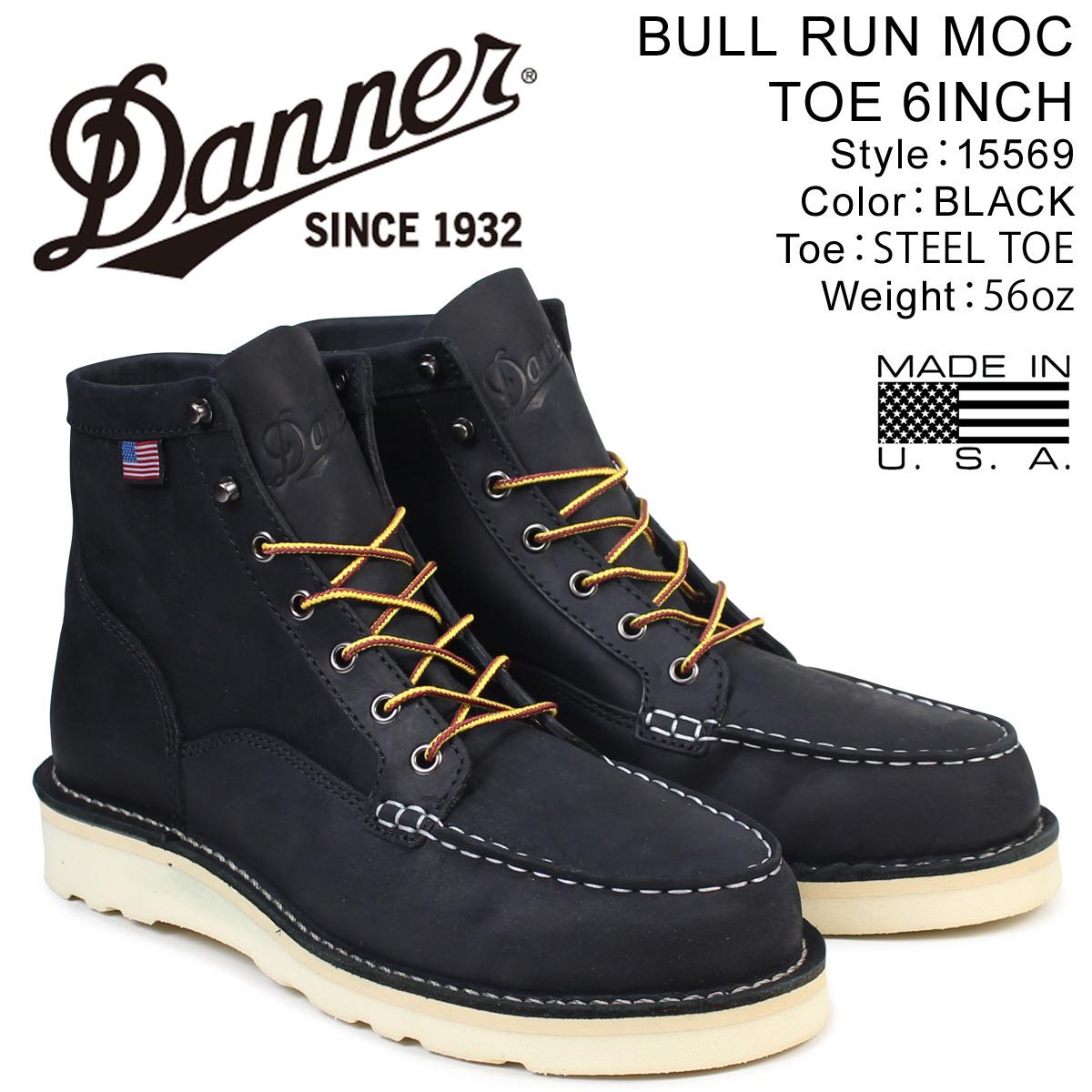 ダナー Danner EEワイズ ブーツ Danner BULL RUN ダナー MOC TOE 6INCH 15569 EEワイズ メンズ ブラック, キクカマチ:01d32cc5 --- ww.thecollagist.com