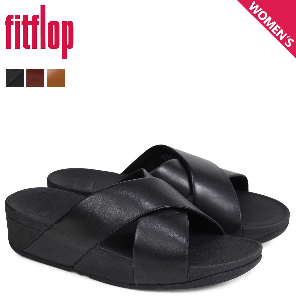e6be4d2b2109a4 FitFlop sandals fitting FLOP Lulu LULU CROSS SLIDE SANDALS Lady s K04 black  brown  4 4 Shinnyu load