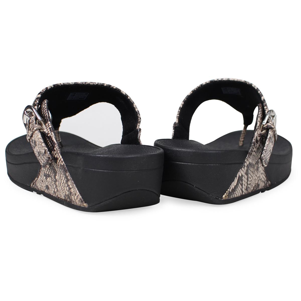 053d9d53c87d FitFlop sandals fitting FLOPS Kinney SKINNY TOE-THONG SANDALS SNAKE PRINT  LEATHER Lady s L69 black  4 4 Shinnyu load