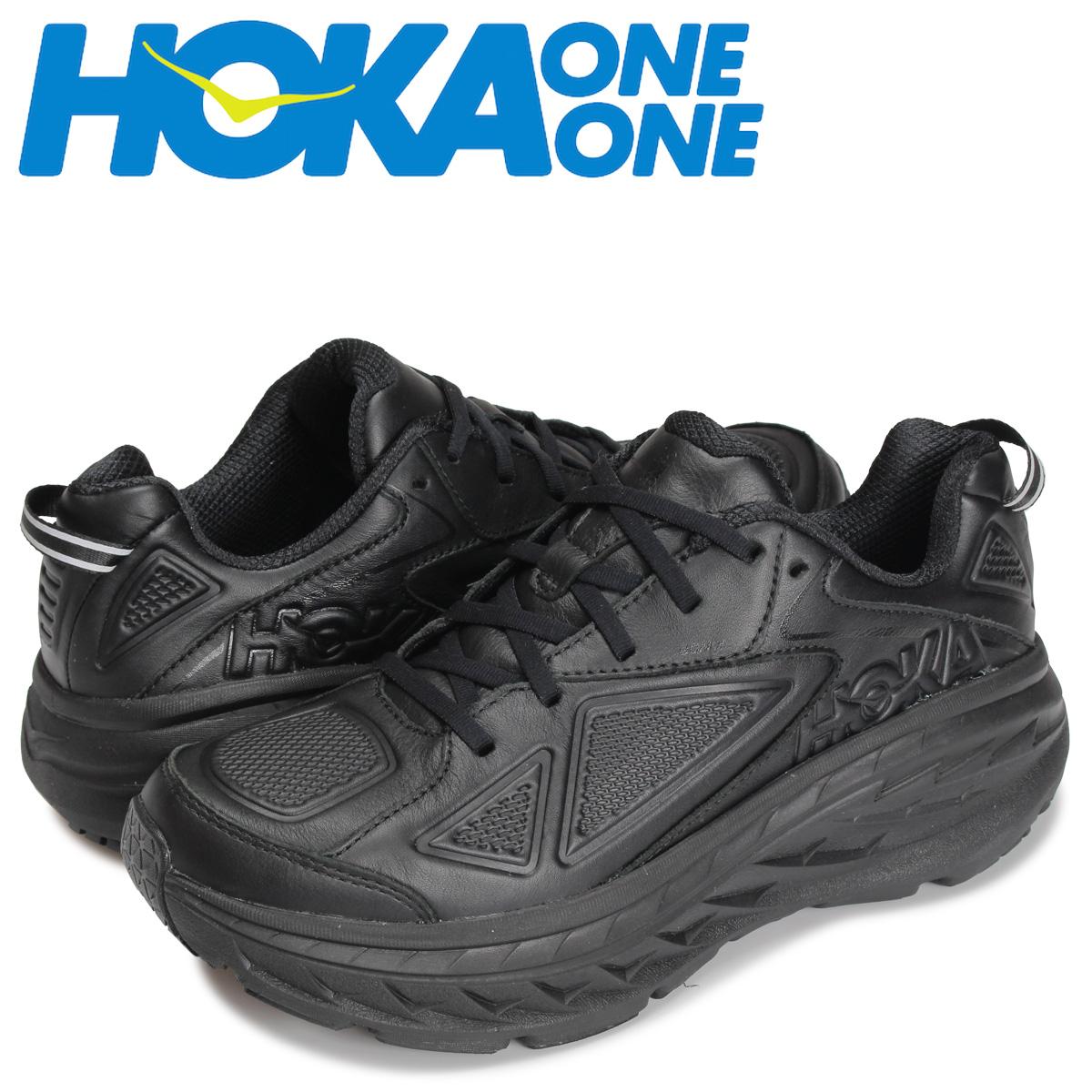 HOKA ONEONE ホカオネオネ ボンダイ レーザー スニーカー メンズ 厚底 BONDI LEATHER ブラック 黒 1019496