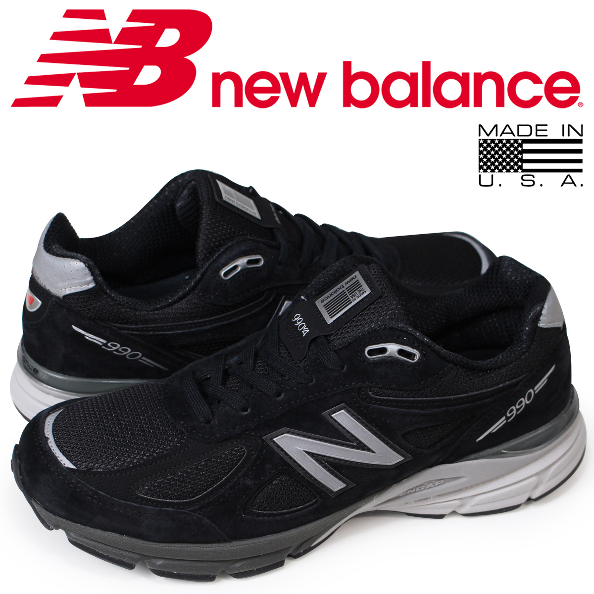 ニューバランス 990 メンズ new balance スニーカー M990BK4 Dワイズ MADE IN USA ブラック