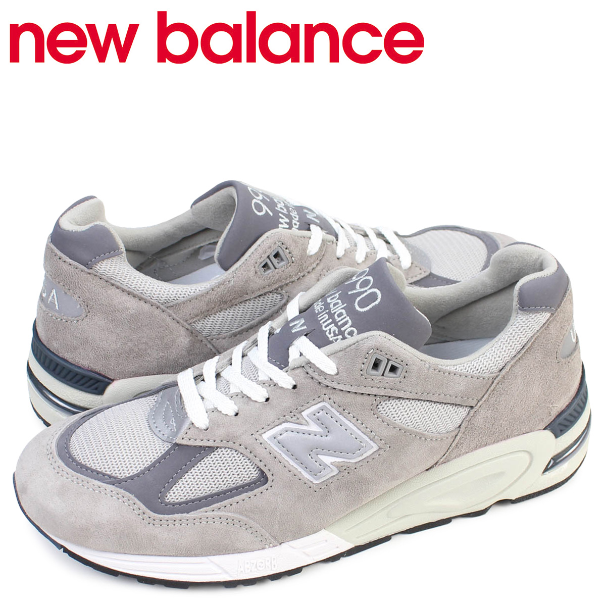 newest 363f2 73399 New Balance new balance 990 men's sneakers M990GR2 D Wise gray MADE IN USA