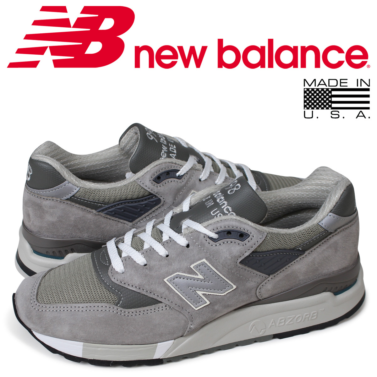 online retailer a4c0e 30d14 New Balance new balance 998 men's sneakers MADE IN USA D Wise gray M998 GY  [the load planned additional arrival in reservation product 9/13 ...