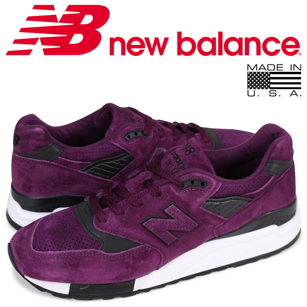 new arrival 3671b 59732 New Balance new balance 998 men s sneakers M998CM D Wise MADE IN USA purple  ...