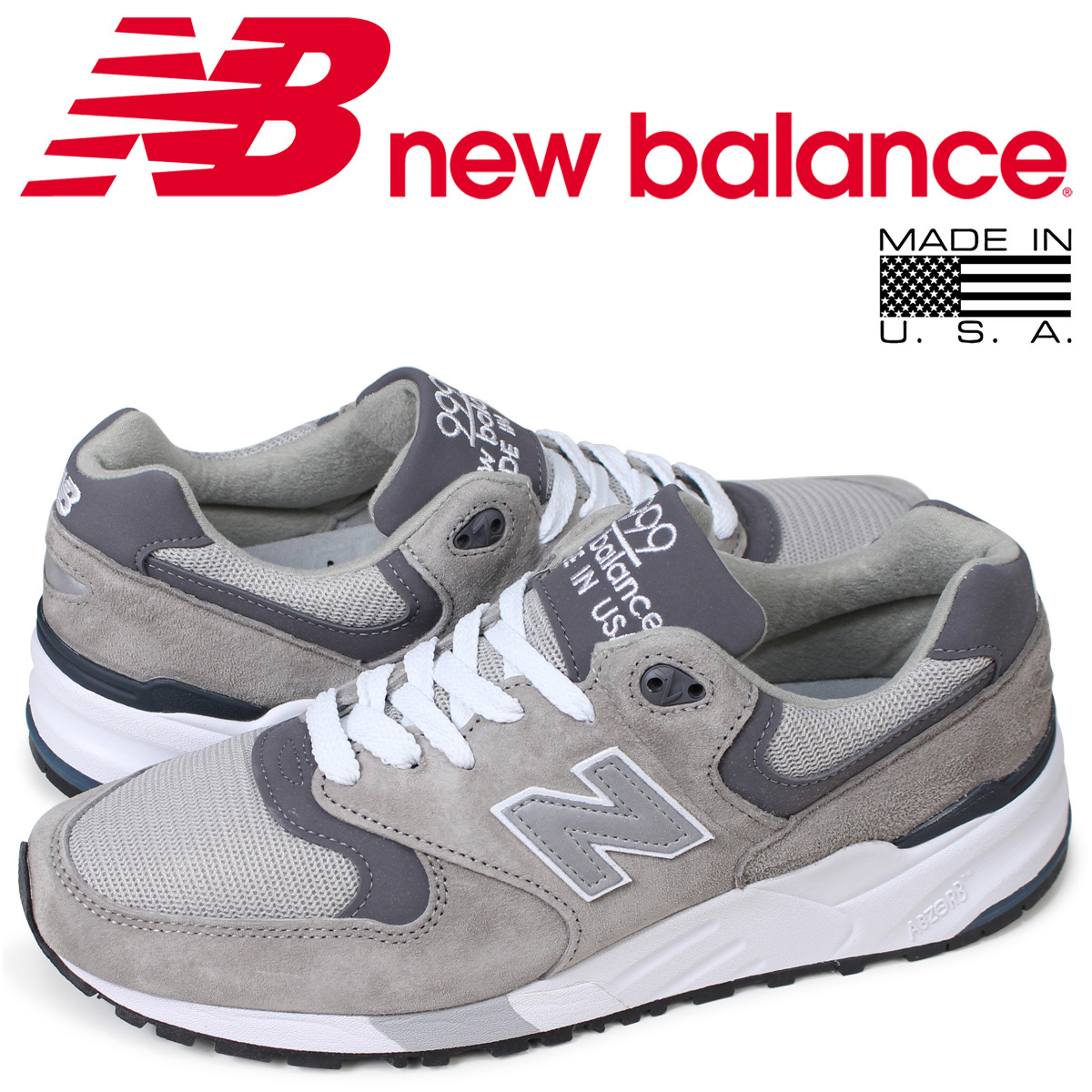 sports shoes 5f9a9 24615 New Balance new balance 999 men's sneakers M999CGL D Wise MADE IN USA gray