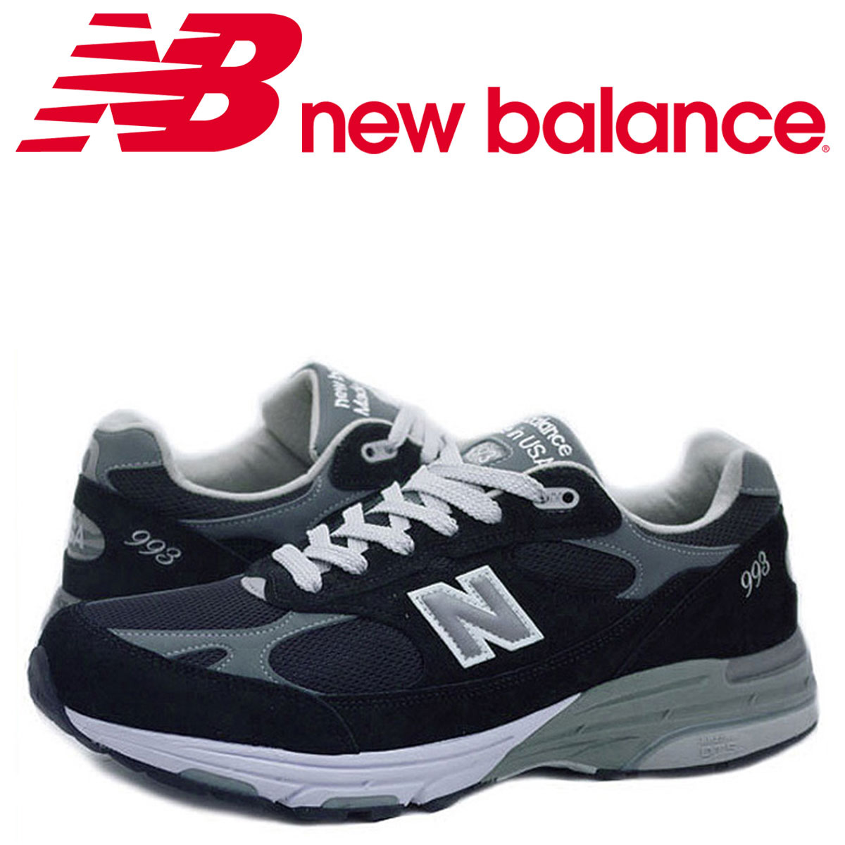 new york d9634 83313 New Balance new balance 993 men's sneakers MR993BK D Wise MADE IN USA black