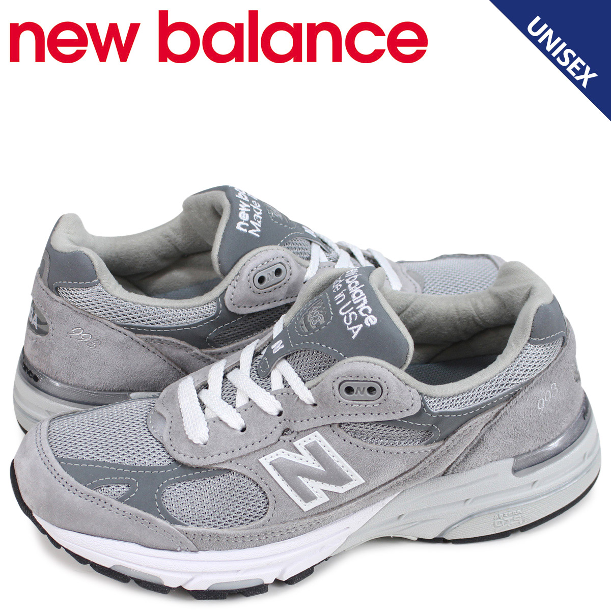 pas cher pour réduction 616db 16706 New Balance new balance 993 lady's men's sneakers gray WR993GL D Wise suede  mesh Made in USA suede cloth