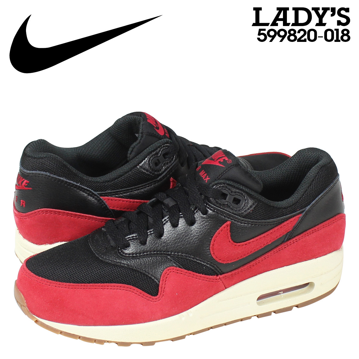 NIKE WMNS AIR MAX 1 ESSENTIAL Kie Ney AMAX 1 essential Lady's sneakers 599,820 018 red