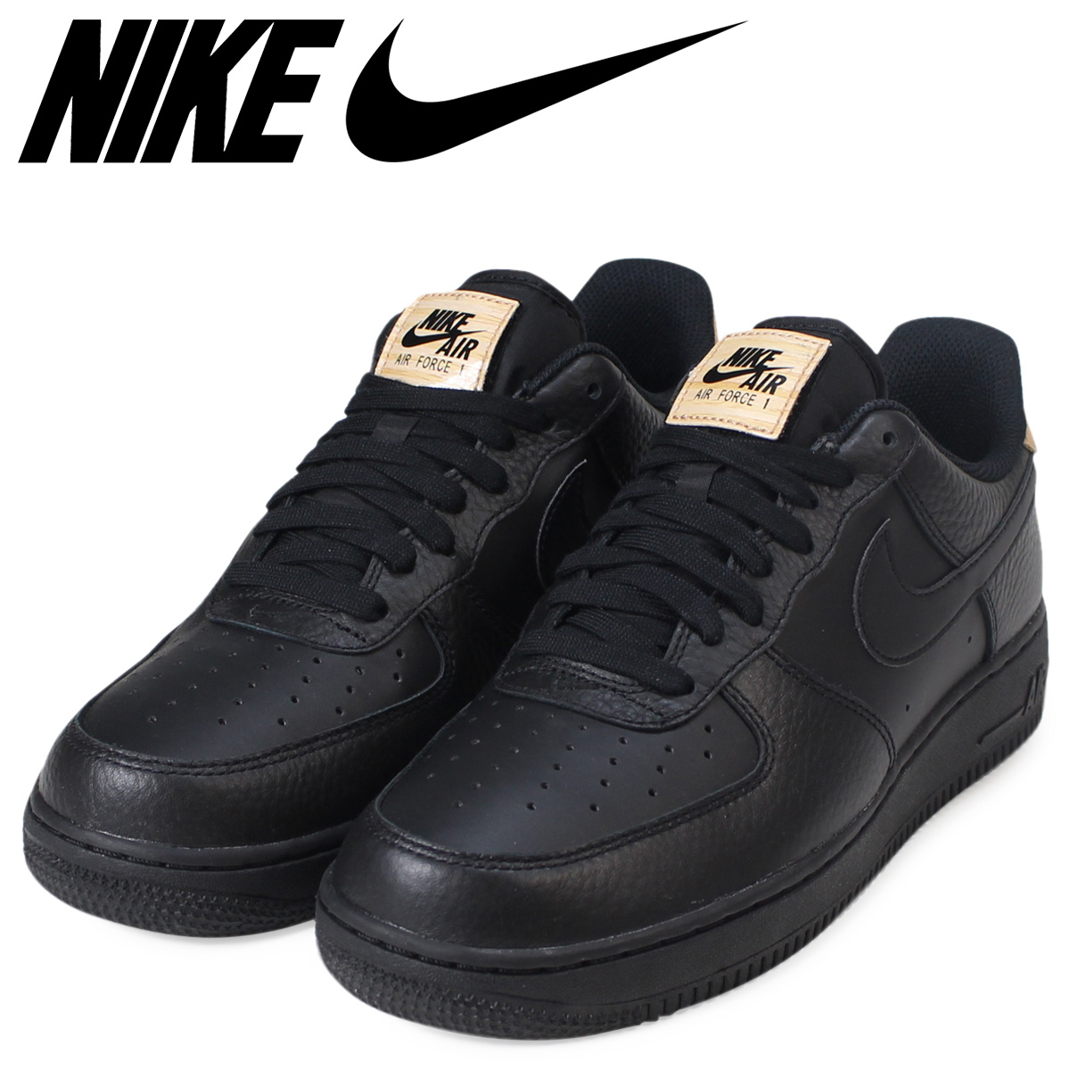 Nike NIKE air force 1 sneakers AIR FORCE 1 LOW LEATHER TONGUE 718,152 016 men's black