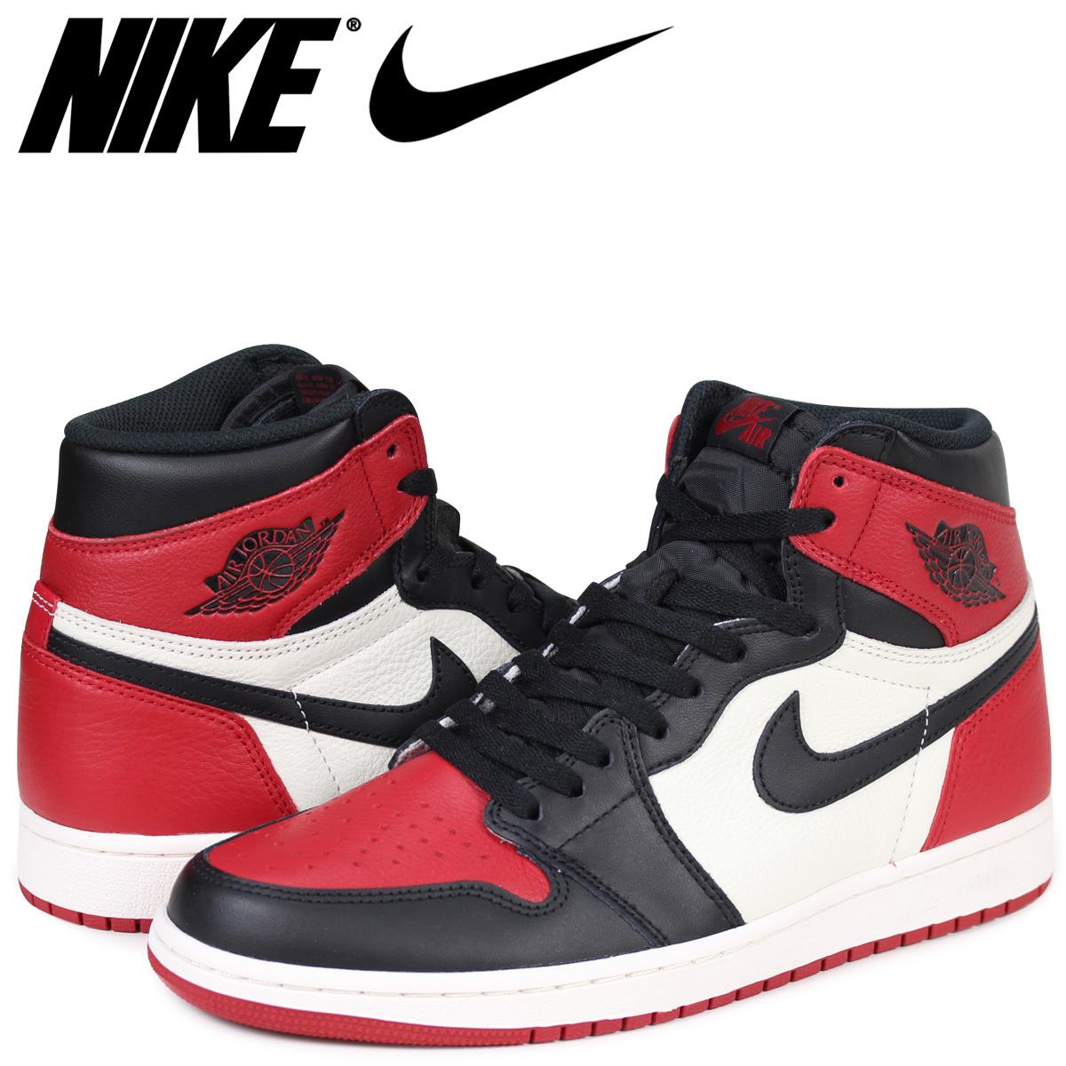 half off 0136e 970ae NIKE AIR JORDAN 1 RETRO HIGH OG BRED TOE Nike Air Jordan 1 sneakers  nostalgic high men red 555,088-610