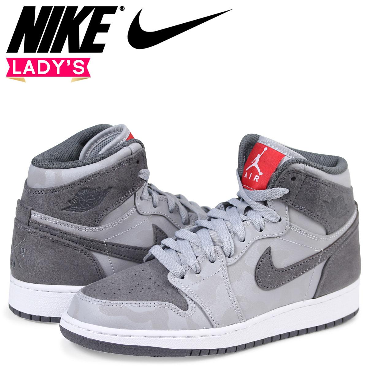 Nike NIKE Air Jordan 1 nostalgic lady's sneakers AIR JORDAN 1 RETRO HIGH  PREMIUM BG 822,858-027 gray [2/8 Shinnyu load]
