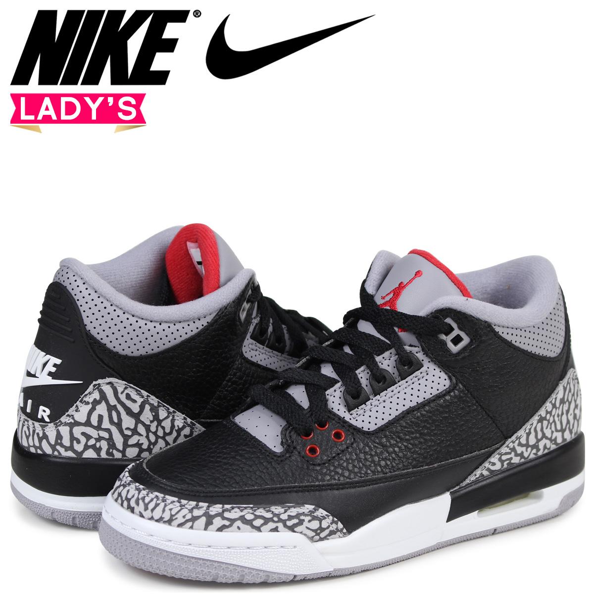 new style 3bd40 1d0b8 NIKE AIR JORDAN 3 RETRO OG BG Nike Air Jordan 3 nostalgic lady's sneakers  854,261-001 black