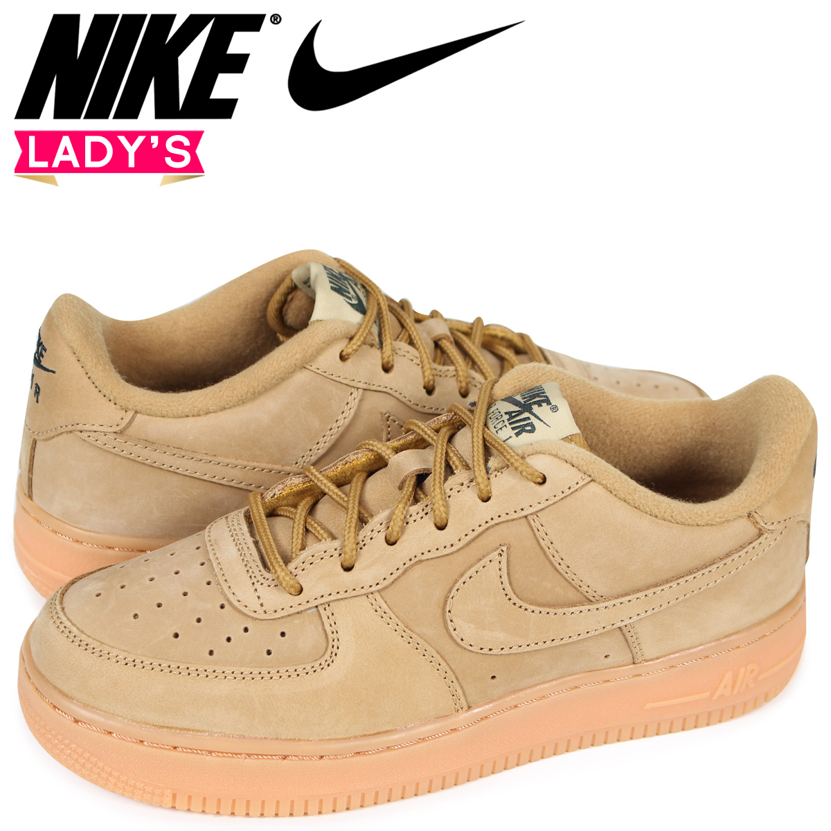 Nike NIKE air force 1 lady's sneakers AIR FORCE 1 LOW WINTER PREMIUM GS WHEAT 943,312 200 beige