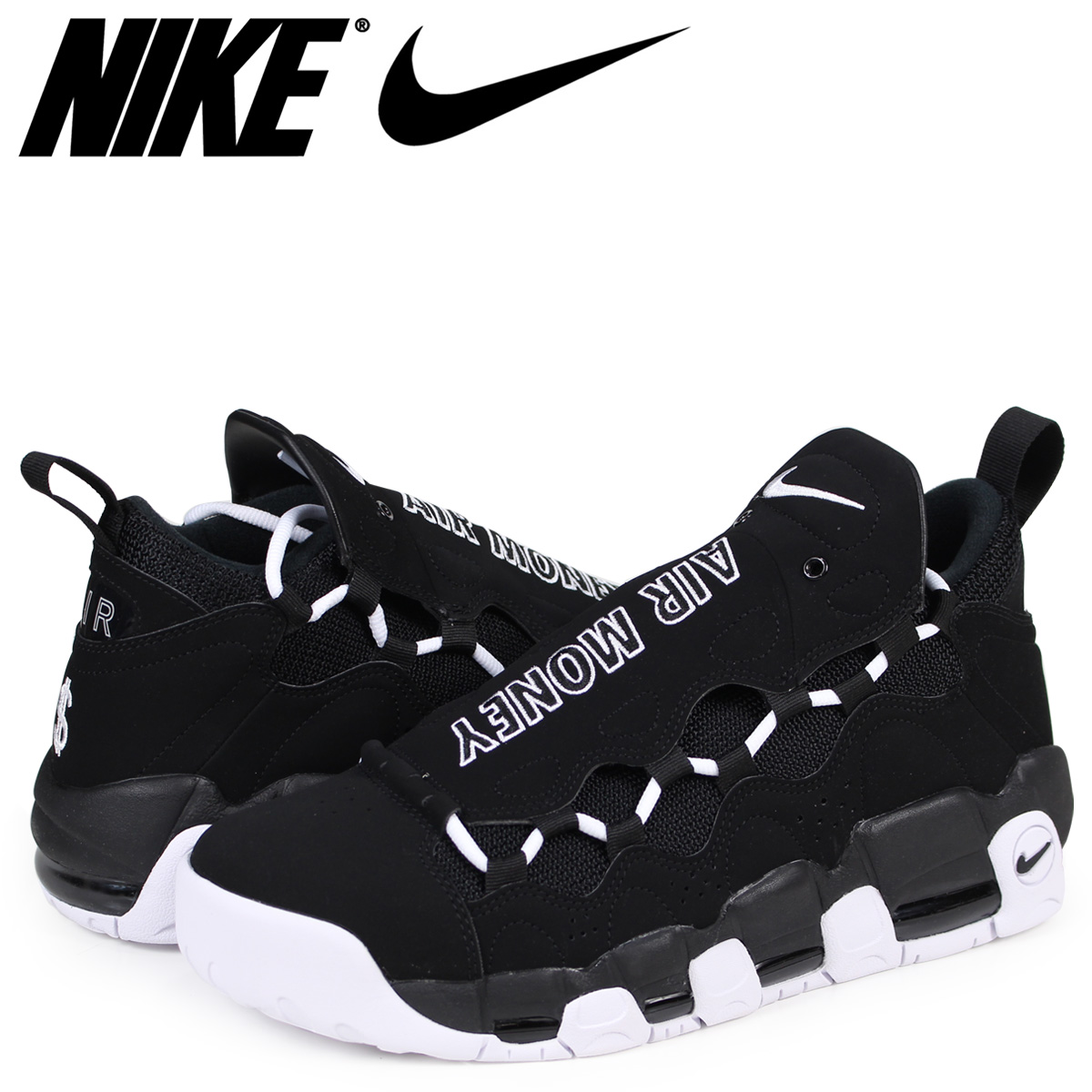 99af6950467 Nike NIKE air more money sneakers men AIR MORE MONEY BOLD CURRENCY AJ2998-001  black  3 9 Shinnyu load