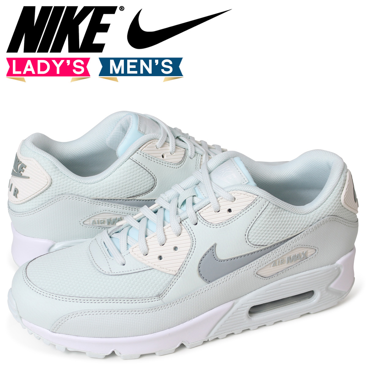 Nike NIKE Air Max 90 lady's men's sneakers WMNS AIR MAX 90 325,213 053 light blue