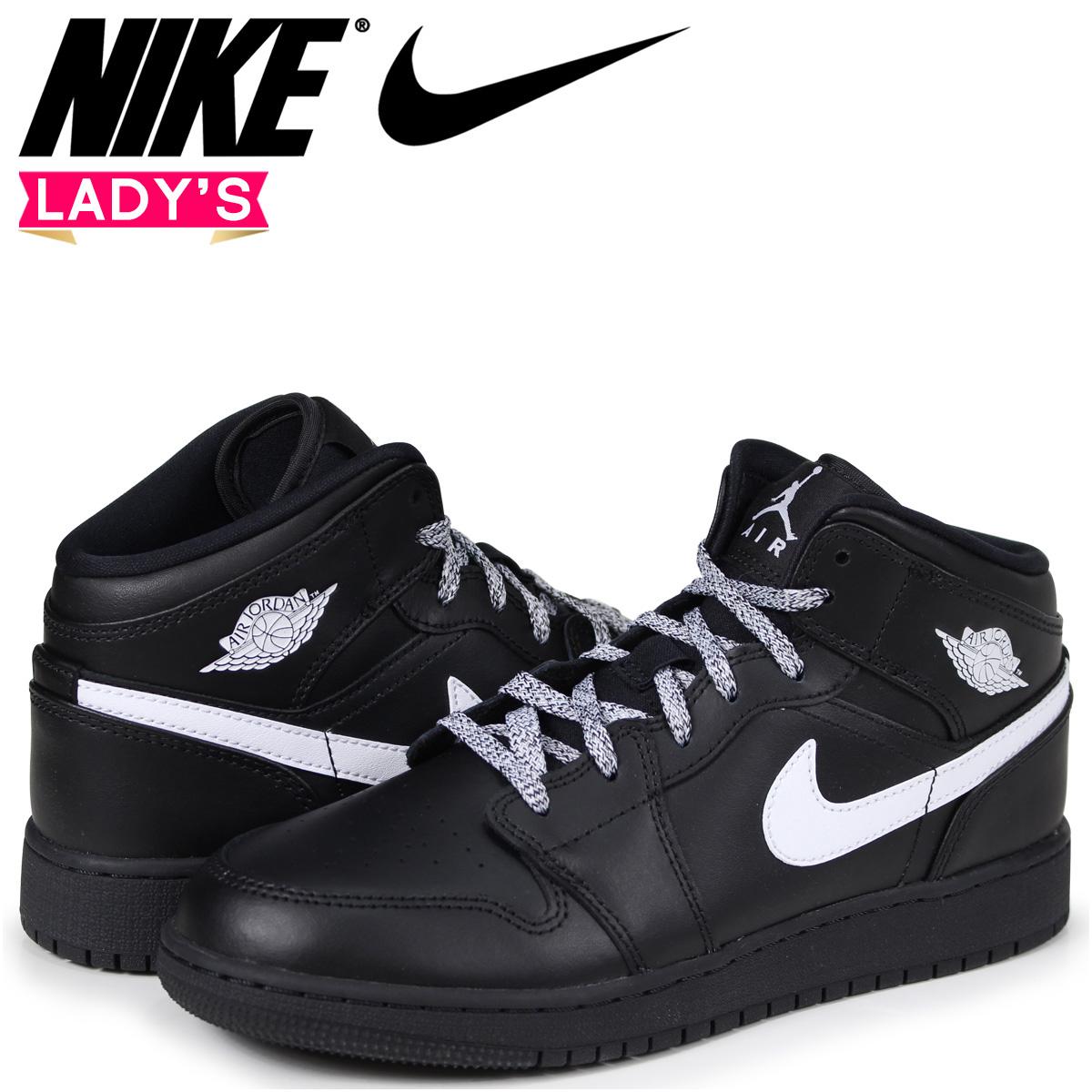 667d6d73222 NIKE AIR JORDAN 1 MID BG Nike Air Jordan 1 Lady's sneakers black  554,725-049 ...