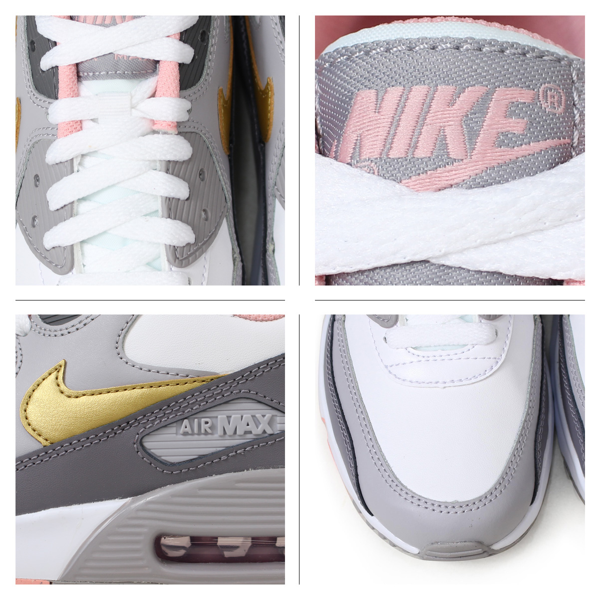 f0dd8eb511 ... Nike NIKE Air Max 90 Lady's sneakers AIR MAX 90 LEATHER GS 833,376-011  gray ...