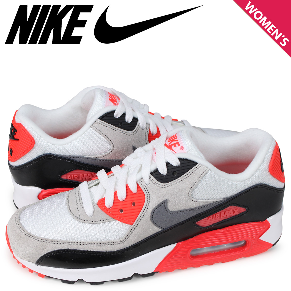 official photos e9101 57890 NIKE AIR MAX 90 PREMIUM MESH GS Kie Ney AMAX 90 Lady s sneakers white  724,882- ...
